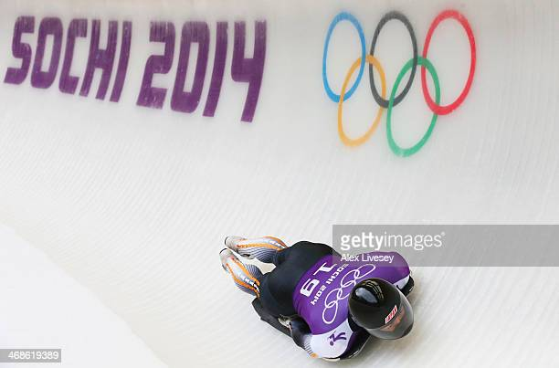Hiroatsu Takahashi of Japan makes a run during a Men's Skeleton training session on Day 4 of the Sochi 2014 Winter Olympics at the Sanki Sliding...