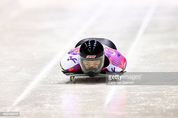 Hiroatsu Takahashi of Japan makes a run during the Men's Skeleton on Day 8 of the Sochi 2014 Winter Olympics at Sliding Center Sanki on February 15,...