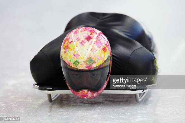 Hiroatsu Takahashi of Japan practices during Men's Skeleton training ahead of the PyeongChang 2018 Winter Olympic Games at the Olympic Sliding Centre...