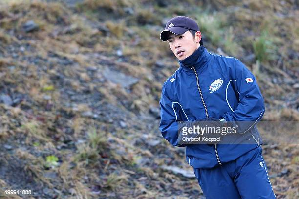 Hiroatsu Takahashi of Japan prepares for his first run of the men's skeleton competition during the BMW IBSF Bob & Skeleton Worldcup at Veltins...