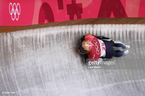 Hiroatsu Takahashi of Japan slides during the Men's Skeleton heats on day six of the PyeongChang 2018 Winter Olympic Games at the Olympic Sliding...