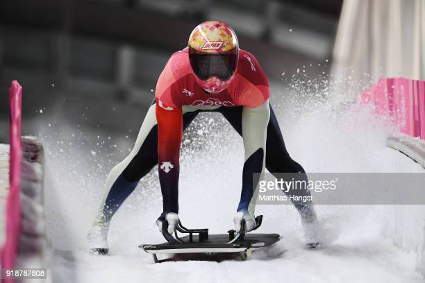 Hiroatsu Takahashi of Japan slides into the finish area during the Men's Skeleton heats at Olympic Sliding Centre on February 16, 2018 in...