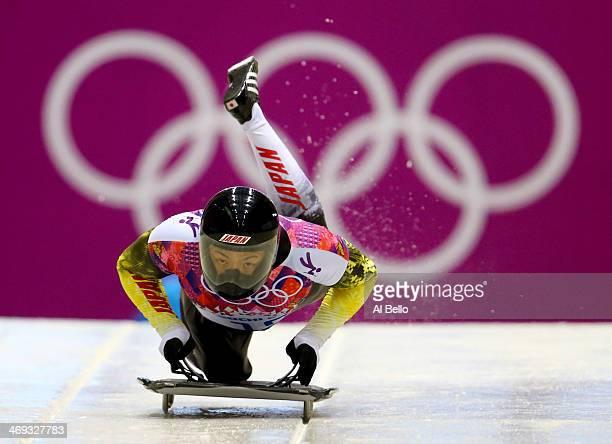 Hiroatsu Takahashi of Japan starts a run during the Men's Skeleton heats on Day 7 of the Sochi 2014 Winter Olympics at Sliding Center Sanki on...