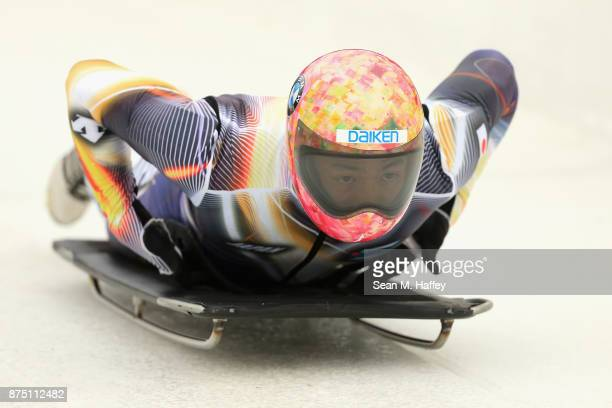 Hiroatsu Takahashi of Japan takes a training run in the Men's Skeleton during the BMW IBSF Bobsleigh + Skeleton World Cup at Utah Olympic Park...