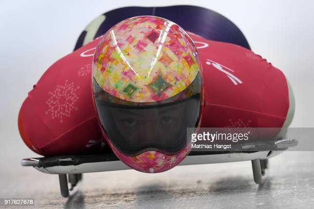 Hiroatsu Takahashi of Japan trains during the Mens Skeleton training session on day four of the PyeongChang 2018 Winter Olympic Games at Olympic...