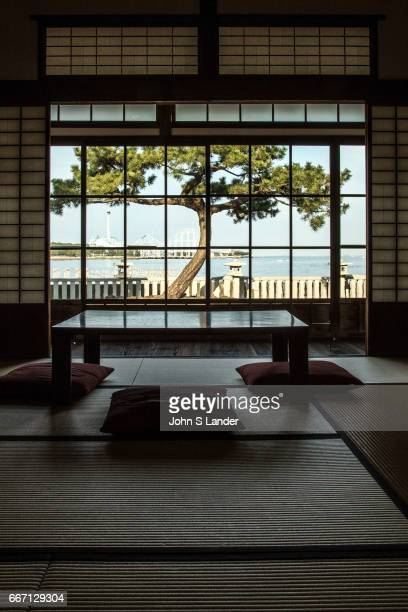 Hirobumi House Garden at Nojima Koen with tatami room shoji and Japanese pine tree view Hirofumi Ito was Japans first prime minister He had a...