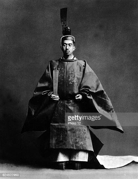 Hirohito 124th Emperor of Japan during his coronation ceremony dressed in the robes of the Shinto high priest of the religion of the state