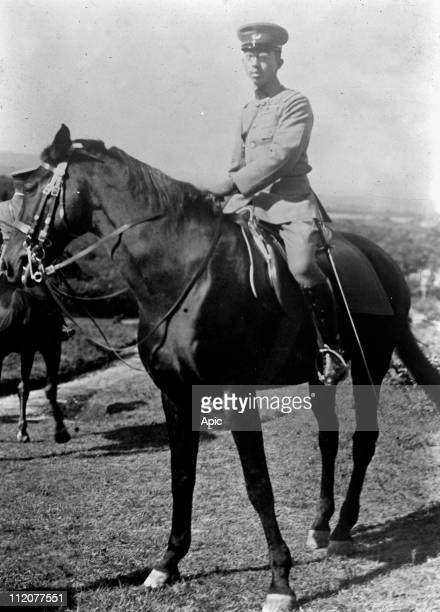 Hirohito japanese emperor in 1926-1989, here on horse c. 1925.