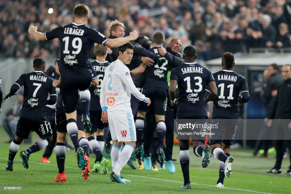 Hiroi Sakai of Marseille looks on during the Ligue 1 match between FC Girondins de Bordeaux and Olympique Marseille at Stade Matmut Atlantique on November 19, 2017 in Bordeaux, .