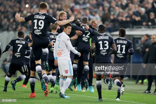 Hiroi Sakai of Marseille looks on during the Ligue 1 match between FC Girondins de Bordeaux and Olympique Marseille at Stade Matmut Atlantique on...