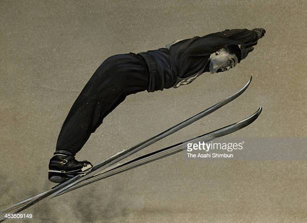 Hiroji Yoshizawa competes in the Ski Jumping of the 33rd All Japan Ski Championships at Okurayama Schanze on February 27 1955 in Sapporo Hokkaido...