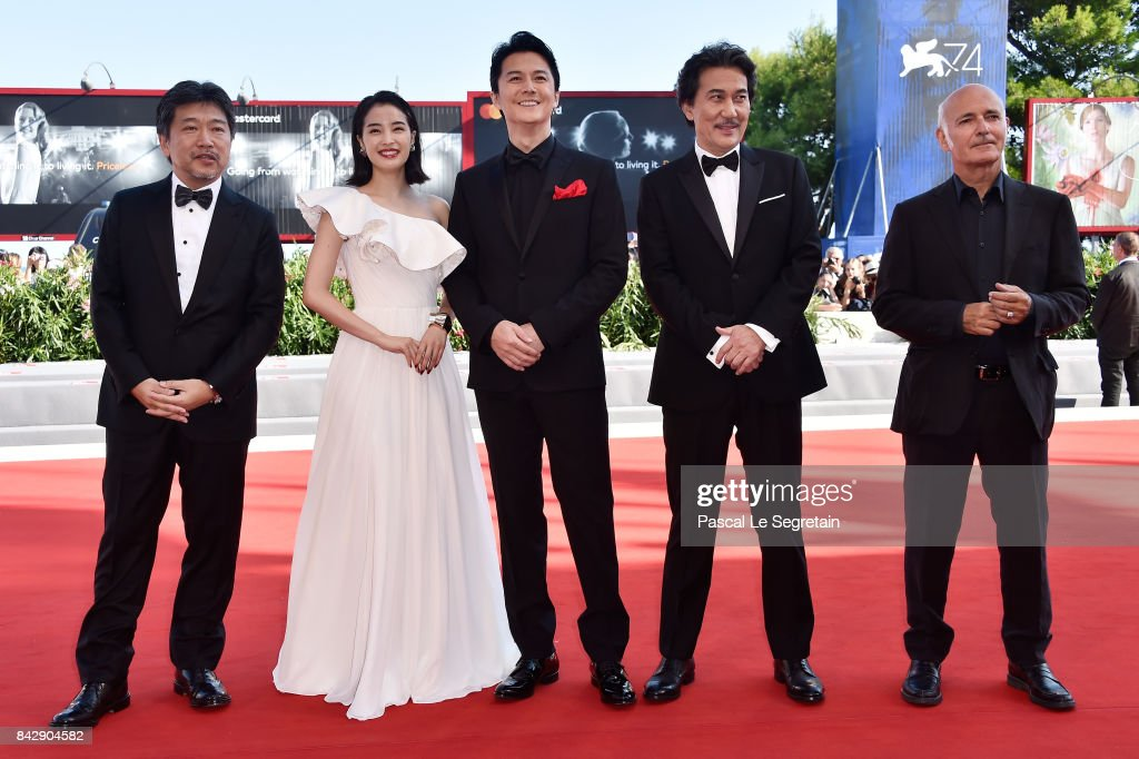 Hirokazu Koreeda, Suzu Hirose, Koji Yakusho, Masaharu Fukuyama and Ludovico Einaudi walk the red carpet ahead of the 'The Third Murder (Sandome No Satsujin)' screening during the 74th Venice Film Festival at Sala Grande on September 5, 2017 in Venice, Italy.