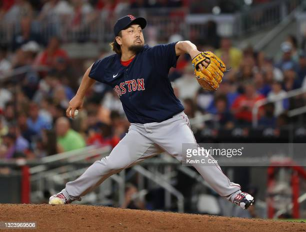 Hirokazu Sawamura of the Boston Red Sox pitches in the fifth inning against the Atlanta Braves at Truist Park on June 16, 2021 in Atlanta, Georgia.