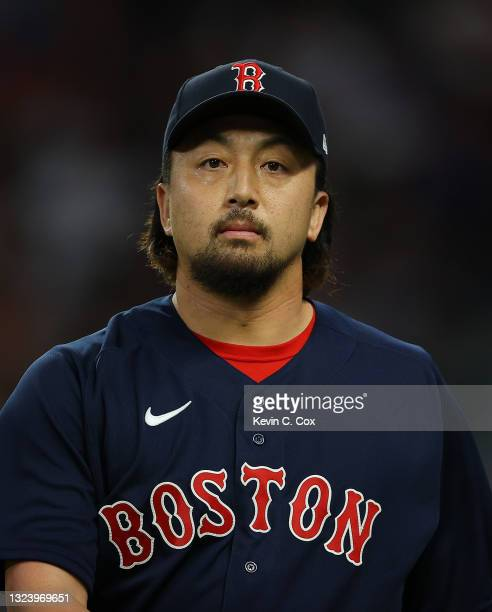 Hirokazu Sawamura of the Boston Red Sox walks off the field in the fifth inning against the Atlanta Braves at Truist Park on June 16, 2021 in...