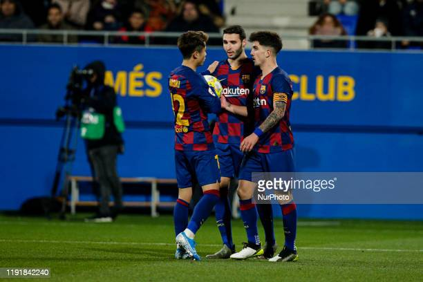 Hiroki Abe of FC Barcelona B, 09 Abel Ruiz of FC Barcelona B and 08 Monchu of FC Barcelona B during La Liga match between FC Barcelona B and RCD...