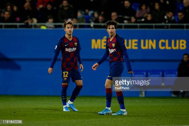 12 Hiroki Abe of FC Barcelona B and 06 Riqui Puig of FC Barcelona B during La Liga match between FC Barcelona B and RCD Espanyol B at Johan Cruyff...