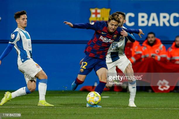 12 Hiroki Abe of FC Barcelona B during La Liga match between FC Barcelona B and RCD Espanyol B at Johan Cruyff Stadium on January 04 2020 in...