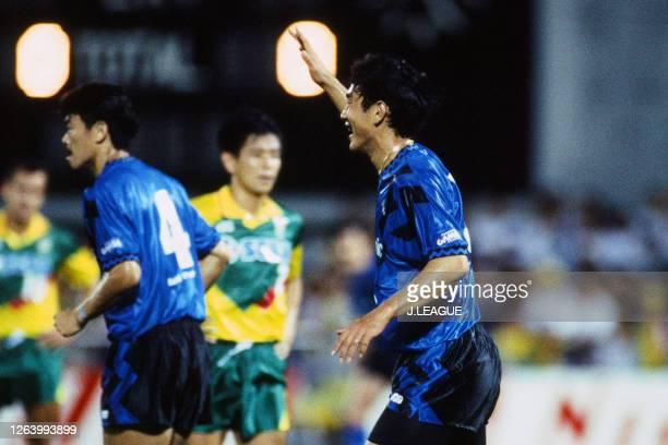 Hiroki Azuma of Gamba Osaka celebrates scoring his side's first goal during the J.League Suntory Series match between JEF United Ichihara and Gamba...