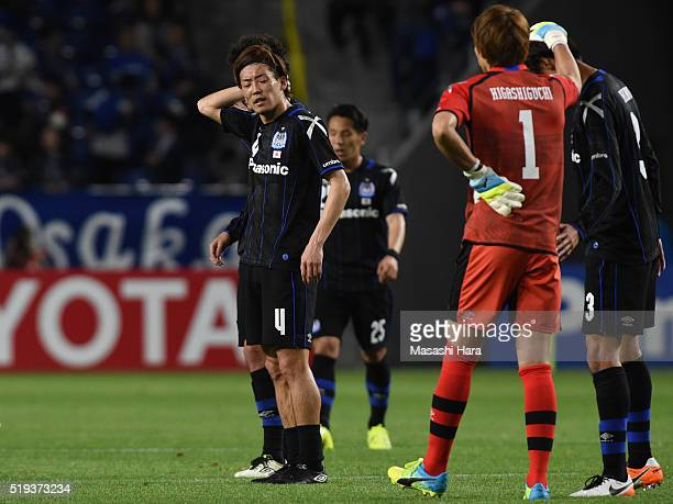 Hiroki Fujiharu of Gamba Osaka looks on after the AFC Champions League Group G match between Gamba Osaka and Shanghai SIPG FC at the Suita City...