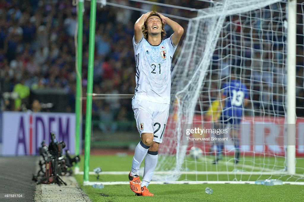 Hiroki Fujiharu #21 of Japan reacts during the 2018 FIFA World Cup Qualifier match between Cambodia and Japan on November 17, 2015 in Phnom Penh, Cambodia.