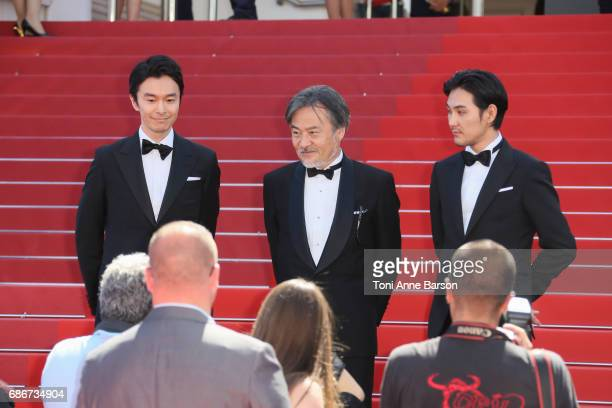 Hiroki Hasegawa Kiyoshi Kurosawa and Ryuhei Matsuda attends the 'Before We Vanish ' screening during the 70th annual Cannes Film Festival at on May...