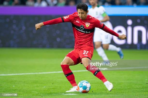 Hiroki Ito of VfB Stuttgart controls the ball during the Bundesliga match between Borussia Mönchengladbach and VfB Stuttgart at Borussia-Park on...