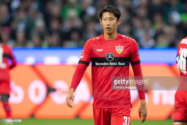 Hiroki Ito of VfB Stuttgart looks on during the Bundesliga match between Borussia Mönchengladbach and VfB Stuttgart at Borussia-Park on October 16,...