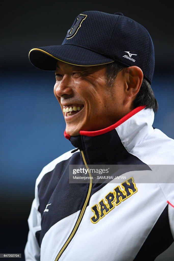 Hiroki Kokubo #90 of Japan smiles during a training session at Kyocera Dome Osaka on March 2, 2017 in Osaka, Japan.
