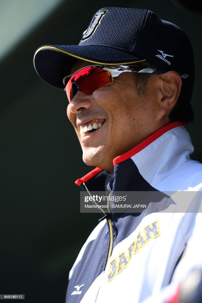 Hiroki Kokubo #90 of Japan smiles during the SAMURAI JAPAN Friendly Opening Match between SAMURAI JAPAN and Fukuoka SoftBank HAWKS at the Sun Marine Stadium Miyazaki on February 25, 2017 in Miyazaki, Japan.