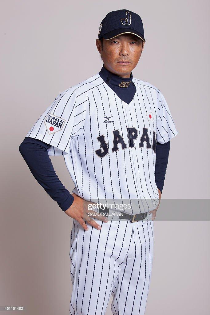 Hiroki Kokubo #90 of Samurai Japan poses for photographs during the Samurai Japan Portrait Session on July 17, 2014 in Tokyo, Japan.