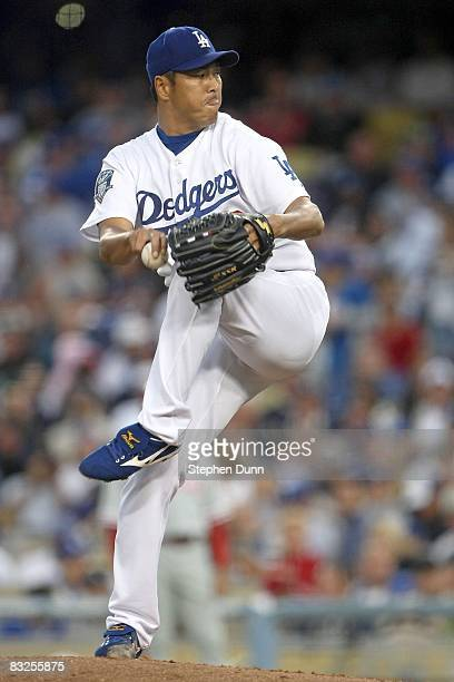 Hiroki Kuroda of the Los Angeles Dodgers on the mound while taking on the Philadelphia Phillies in Game Three of the National League Championship...