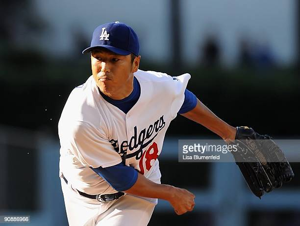 Hiroki Kuroda of the Los Angeles Dodgers pitches against the San Diego Padres at Dodger Stadium on September 6 2009 in Los Angeles California