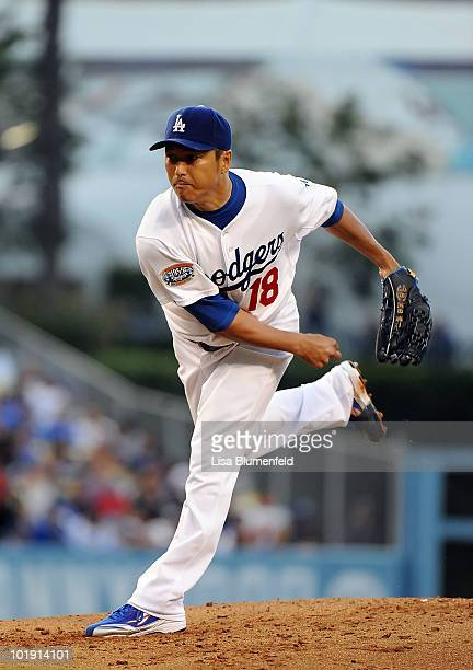 Hiroki Kuroda of the Los Angeles Dodgers pitches against the St Louis Cardinals at Dodger Stadium on June 8 2010 in Los Angeles California