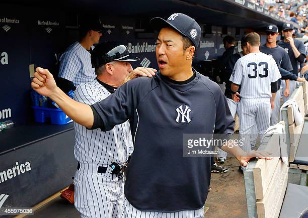 Hiroki Kuroda of the New York Yankees before a game against the Toronto Blue Jays at Yankee Stadium on September 20 2014 in the Bronx borough of New...
