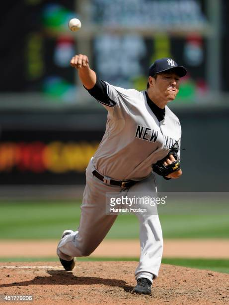 Hiroki Kuroda of the New York Yankees delivers a pitch against the Minnesota Twins during the fourth inning of the game on July 6 2014 at Target...