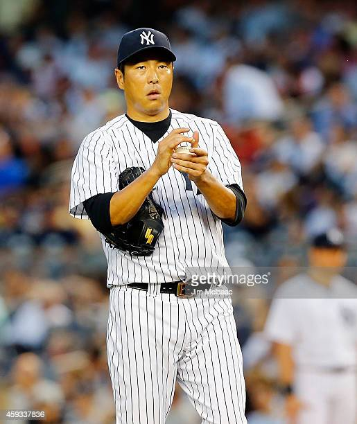 Hiroki Kuroda of the New York Yankees in action against the Boston Red Sox at Yankee Stadium on September 3 2014 in the Bronx borough of New York...
