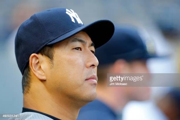 Hiroki Kuroda of the New York Yankees looks on in the seventh inning against the Pittsburgh Pirates at Yankee Stadium on May 18 2014 in the Bronx...
