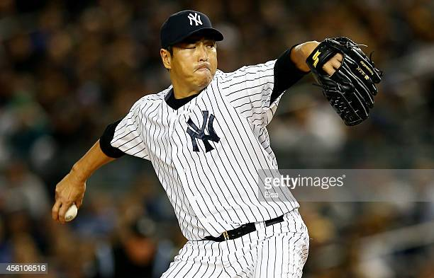 Hiroki Kuroda of the New York Yankees pitches against the Baltimore Orioles during a game at Yankee Stadium on September 25 2014 in the Bronx borough...