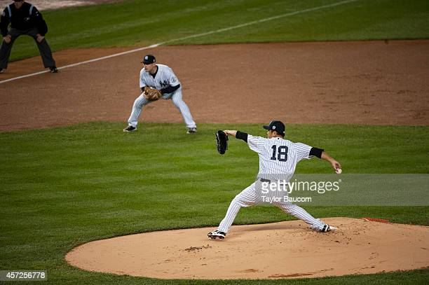 Hiroki Kuroda of the New York Yankees pitches during the game against the Baltimore Orioles at Yankee Stadium on Thursday September 25 2014 in the...