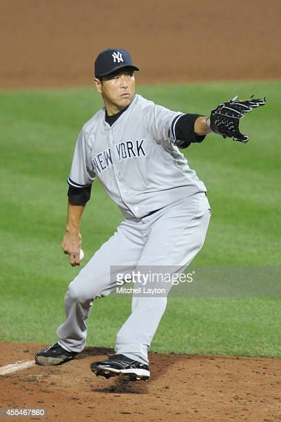 Hiroki Kuroda of the New York Yankees pitches in fifth inning during a baseball game against the Baltimore Orioles on September 14 2014 at Oriole...