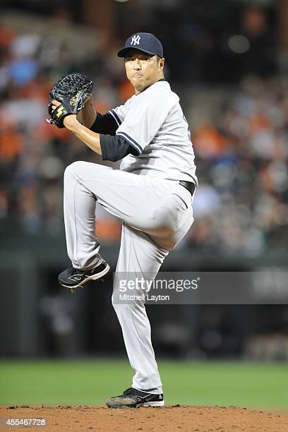 Hiroki Kuroda of the New York Yankees pitches in first inning during a baseball game against the Baltimore Orioles on September 14 2014 at Oriole...