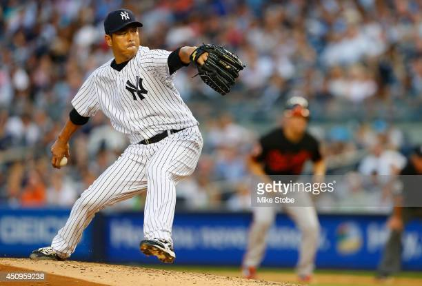 Hiroki Kuroda of the New York Yankees pitches in the third inning against the Baltimore Orioles at Yankee Stadium on June 20 2014 in the Bronx...