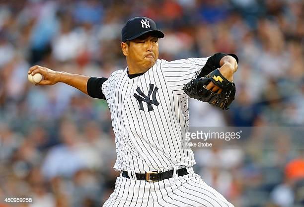 Hiroki Kuroda of the New York Yankees pitches in the third inning against the Baltimore Orioles at Yankee Stadium on June 20 2014 in the Bronx...
