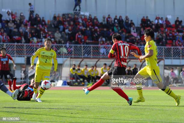 Hiroki Miyazawa of Consadole Sapporo scores the opening goal during the J.League J1 match between Consadole Sapporo and Kashiwa Reysol at Sapporo...