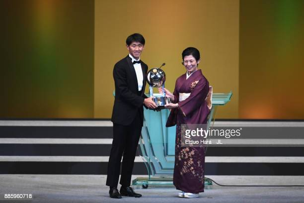 Hiroki Mizumoto of Sanfrecce Hiroshima receives the Fair Play Award from Japan Football Association Honorary Patron Princess Hisako of Takamado...