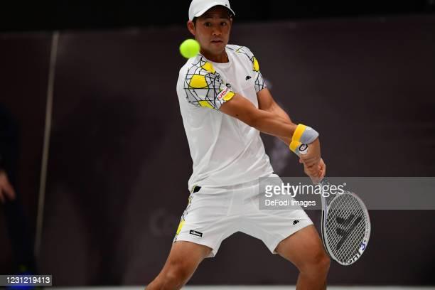 Hiroki Moriya of Japan controls the ball during the Biella ATP Challenger 125 Qualification between Daniel Mausur and Luca Vanni at Palapajetta...