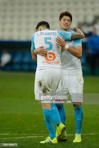 Hiroki Sakai and Lucas Ocampos of Olympique de Marseille react during the Ligue 1 match between Olympique de Marseille and Bordeaux at Stade...