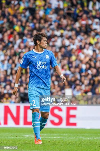 Hiroki Sakai during the Ligue 1 match between FC Nantes and Olympique Marseille at Stade de la Beaujoire on August 17, 2019 in Nantes, France.
