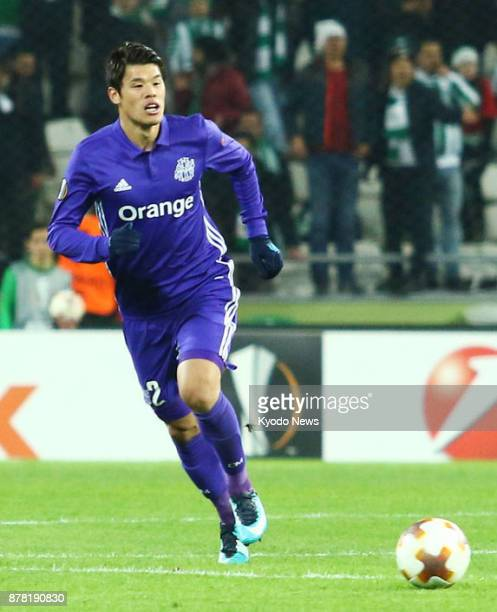 Hiroki Sakai of French club Marseille chases the ball in a Europa League soccer groupstage match against Konyaspor in Konya Turkey on Nov 23 2017 The...