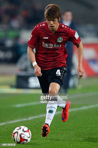 Hiroki Sakai of Hannover 96 during the Bundesliga match between Hannover 96 and Hertha BSC at HDIArena on April 10 2015 in Hanover Germany